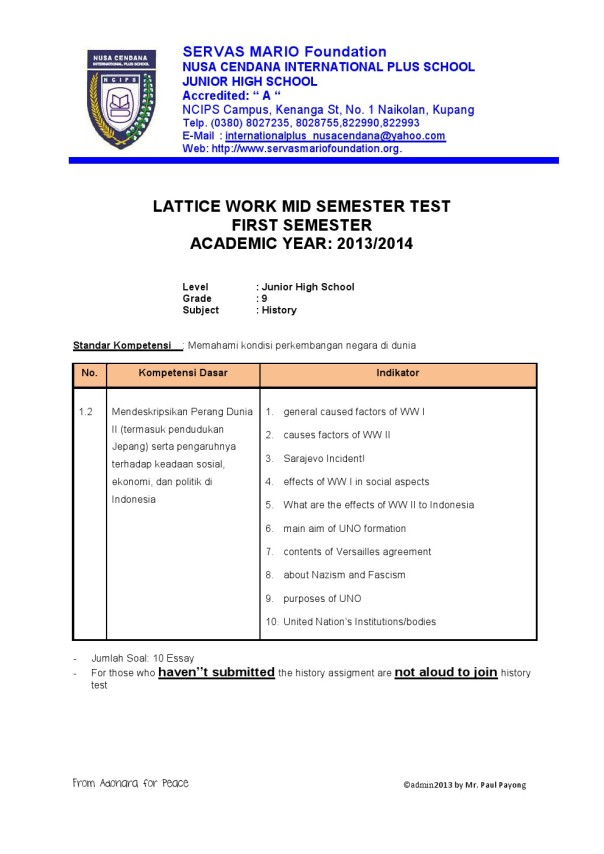 grade 9 NCIPS